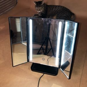 Mini personal vanity mirror with lights